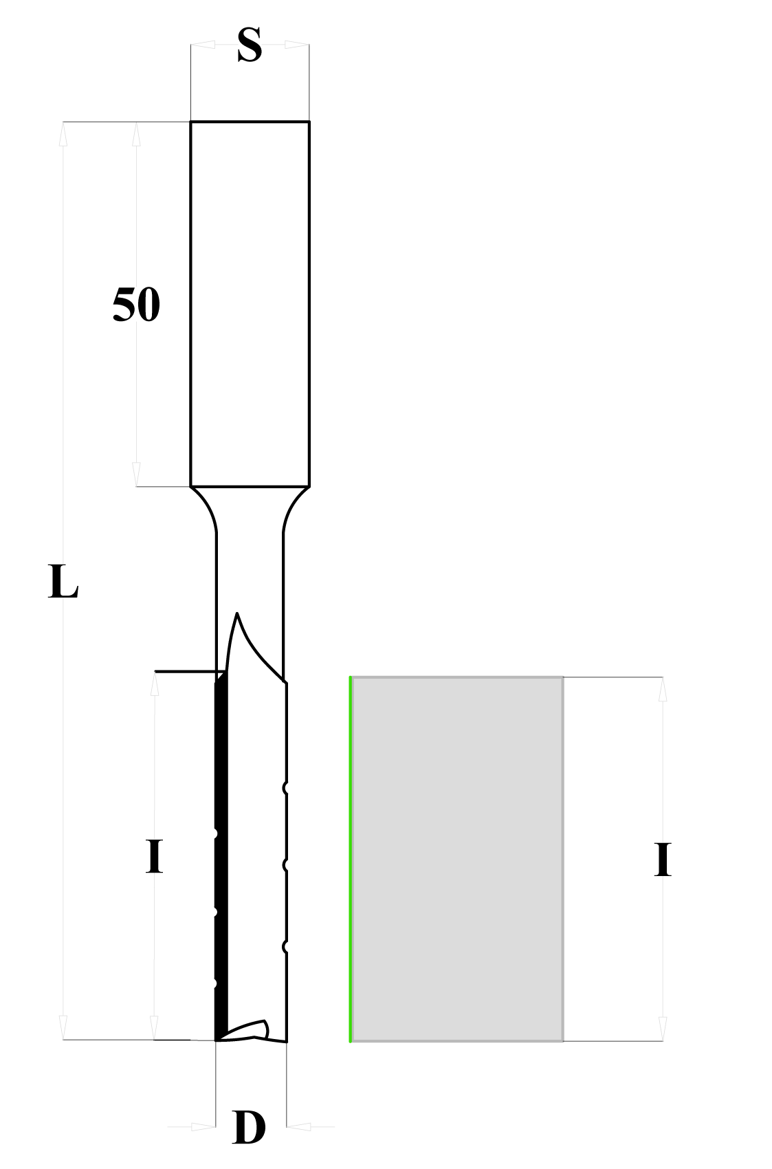 Fresa a taglienti dritti per mortasare con rompitruciolo - sinistra - disegno tecnico