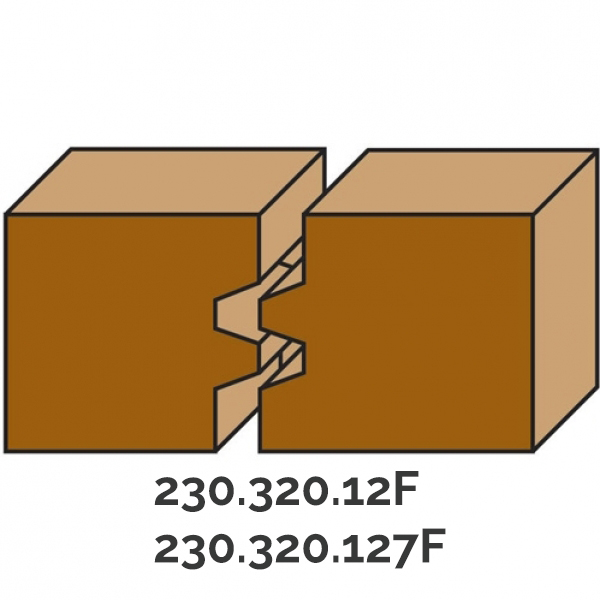 Hw wedge tongue and groove bits Z=2 - Type 1 - milling example
