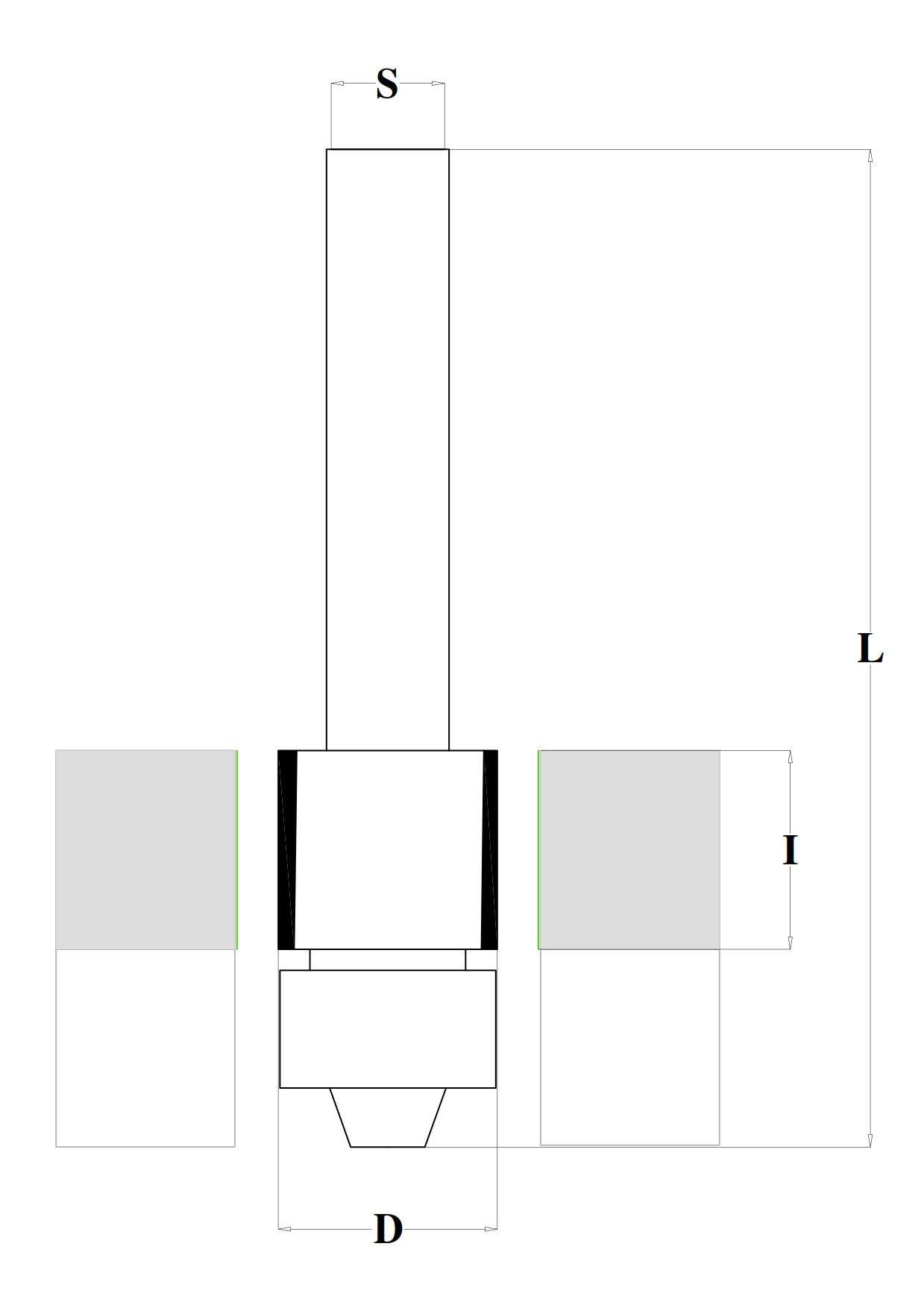 Fresa in PKD diamante per rifilare con cuscinetto Z=2 - disegno tecnico
