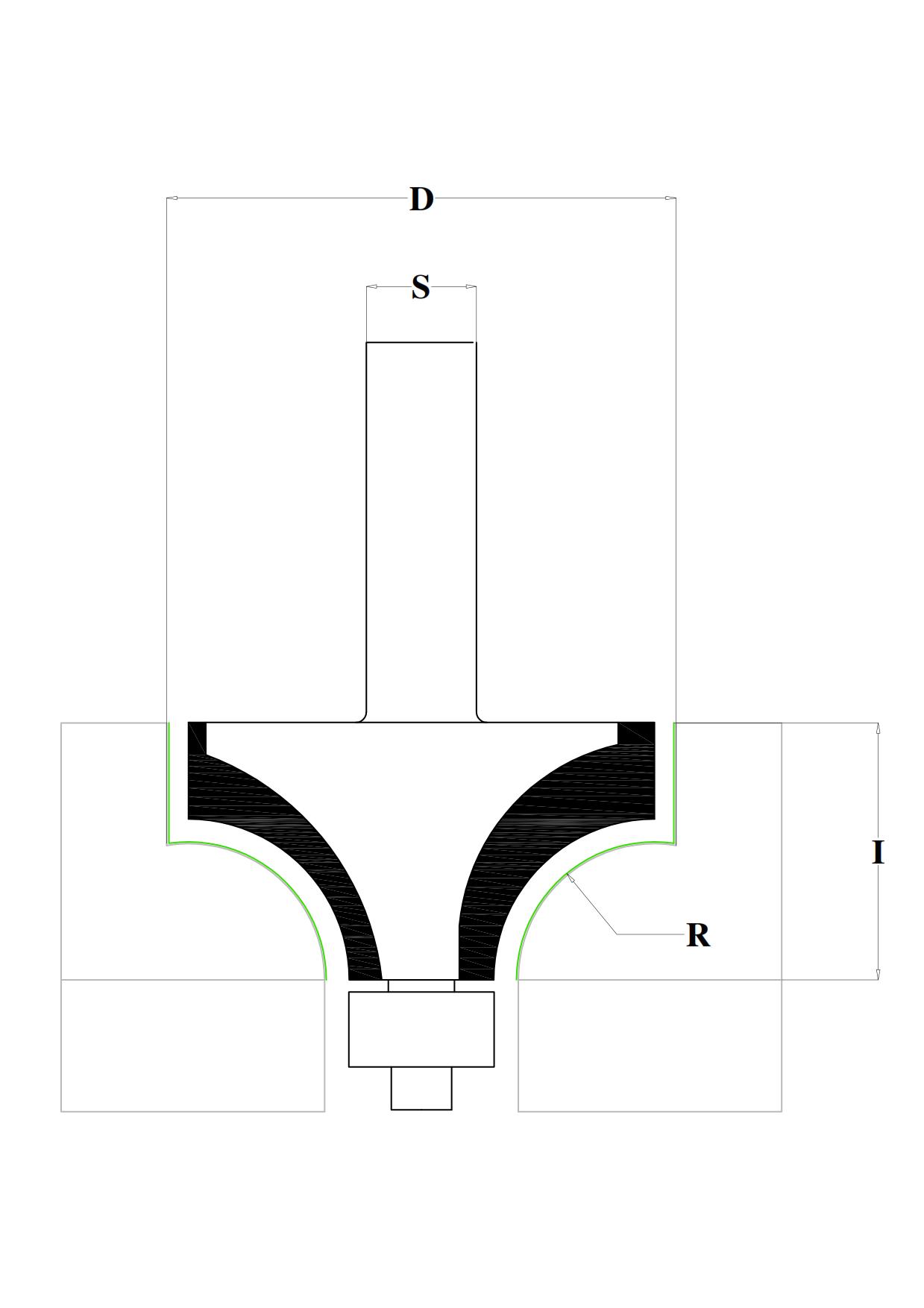 Fraiser FR.201 - Fresa HW raggio concavo con cuscinetto - disegno tecnico