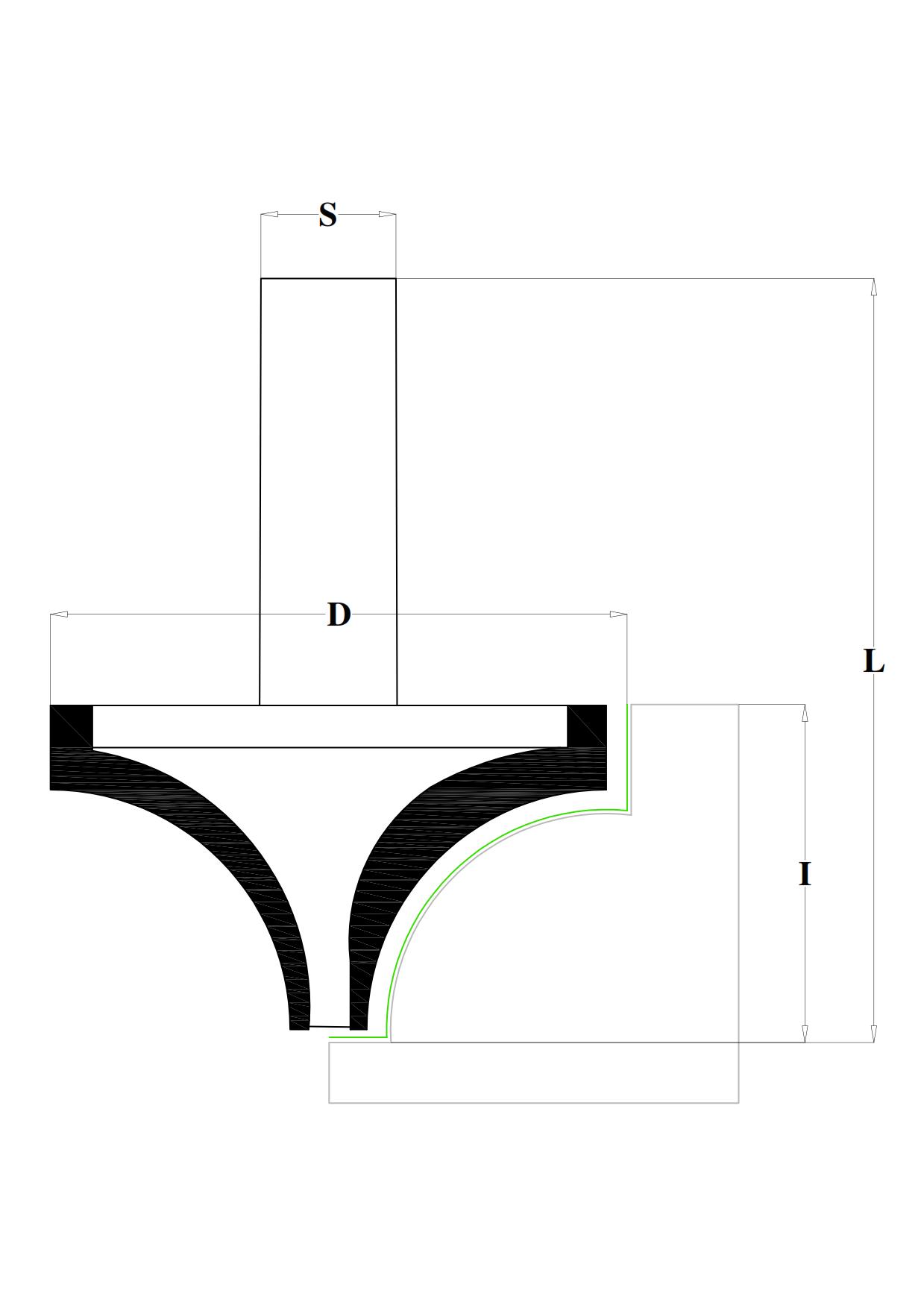 Fresa a raggio concavo in hw - disegno tecnico