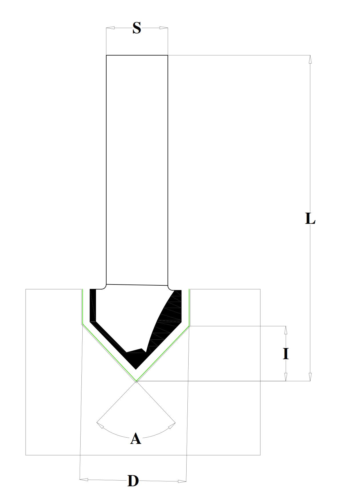 Fraiser FR.209 - Fresa per intagli a 90° - disegno tecnico
