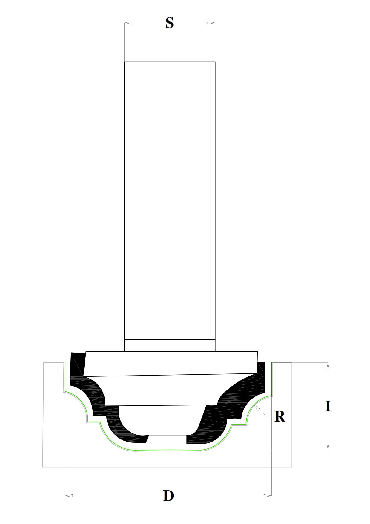 Fresa profilata HW - disegno tecnico