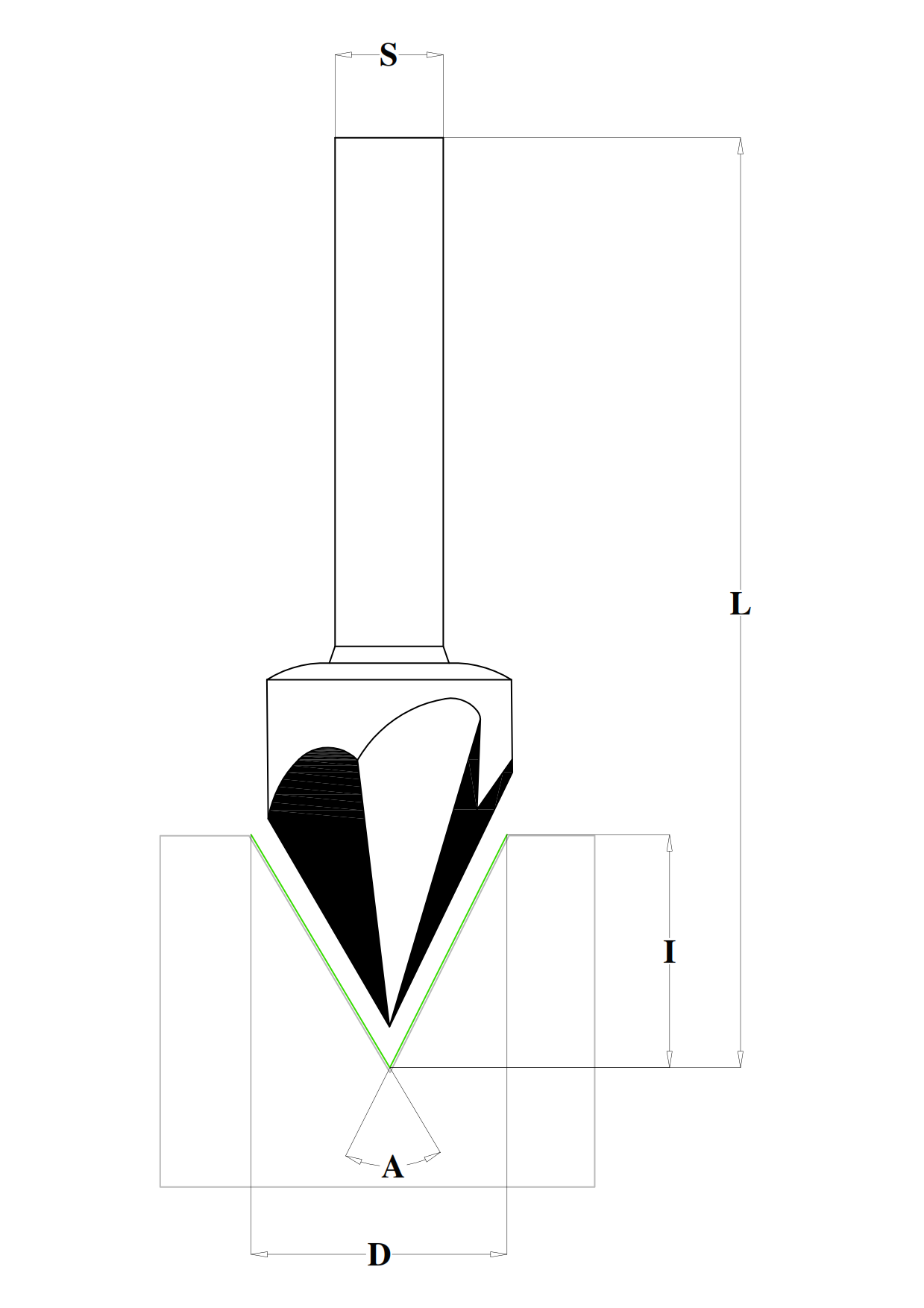 Fresa HW per lettere (60°) - disegno tecnico
