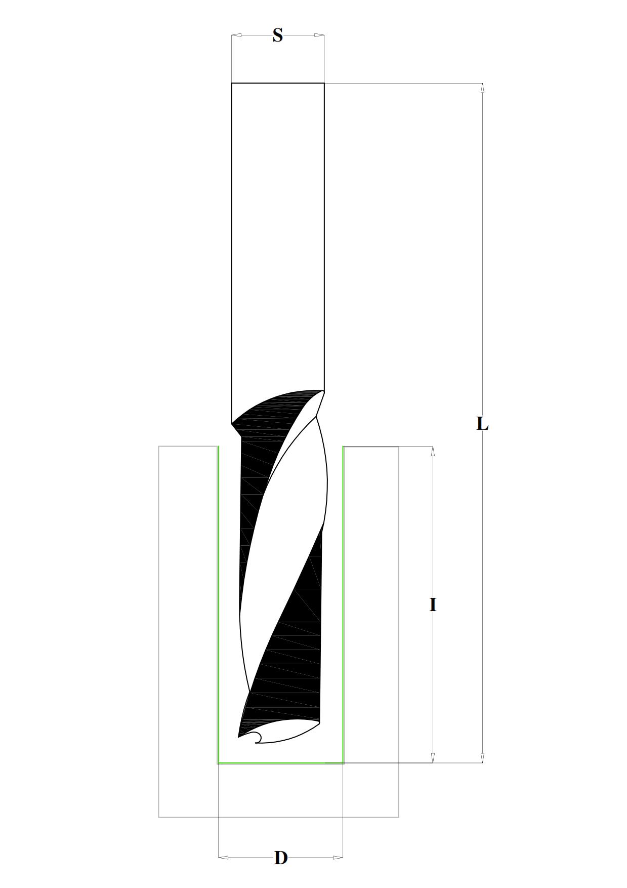 Fraiser FR.301 - Solid carbide upcut spiral bits Z1 - technical design