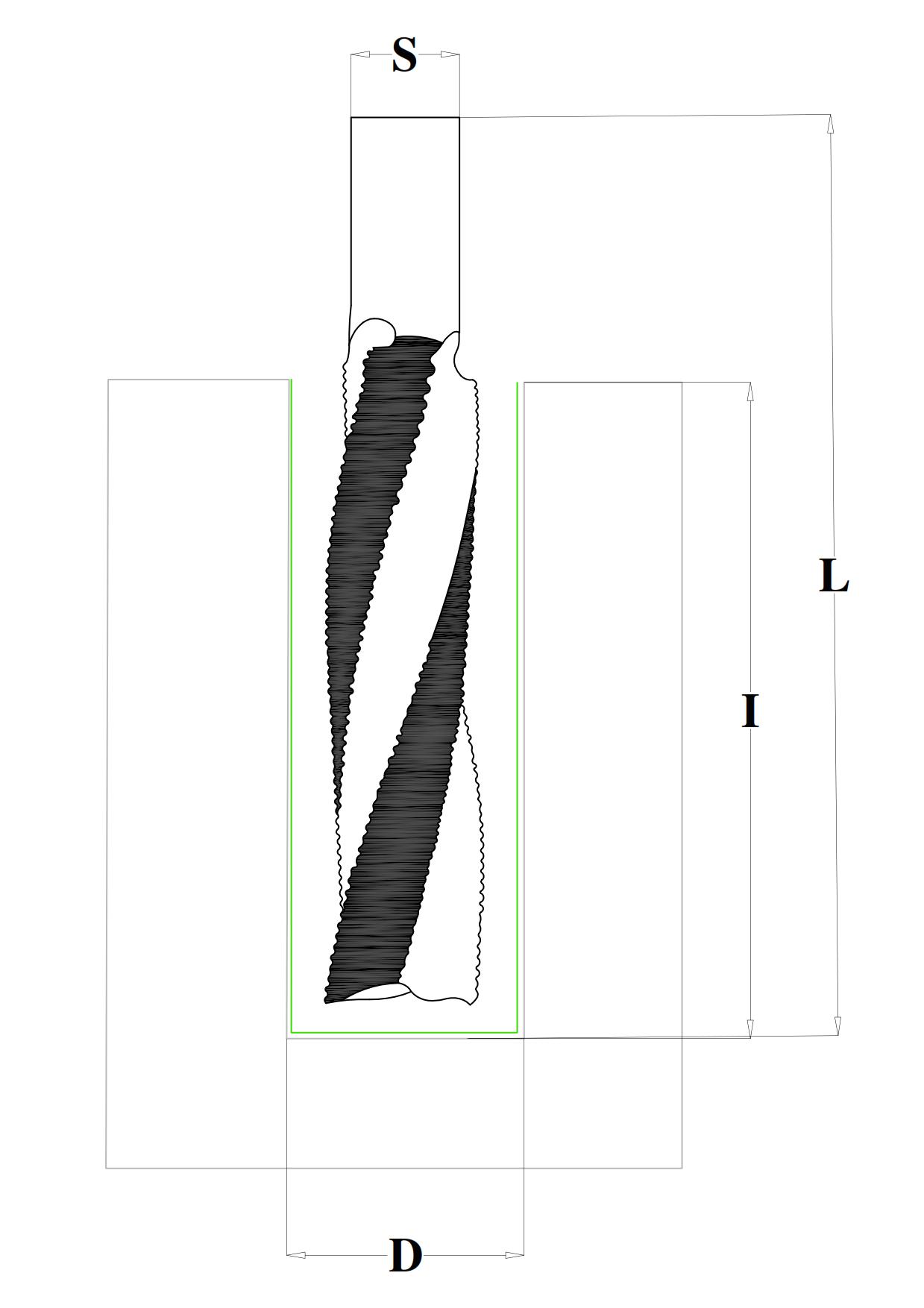 Fresa a taglienti elicoidali positivi con rompitruciolo per travi lamellati HW - disegno tecnico