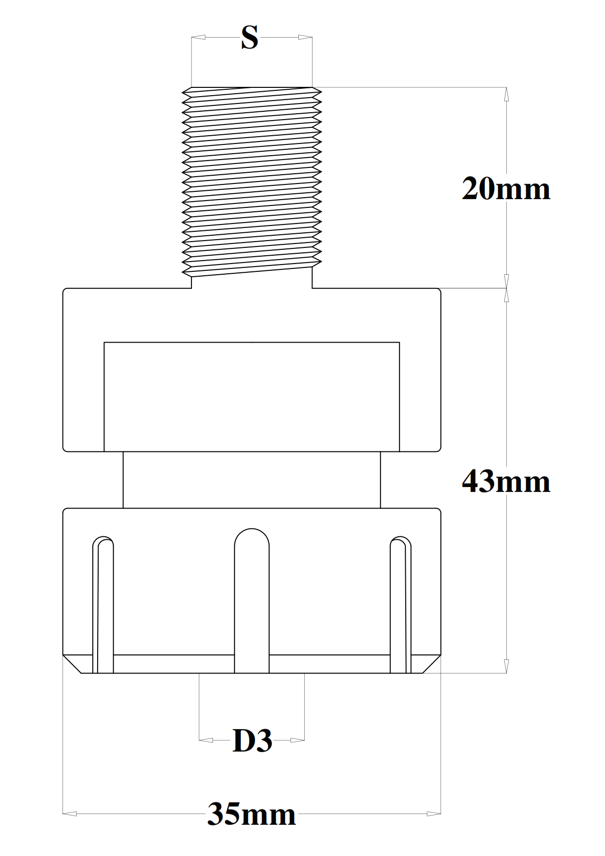 """Collet chuck with grippers """"ER20"""" for Toupie - technical design"""