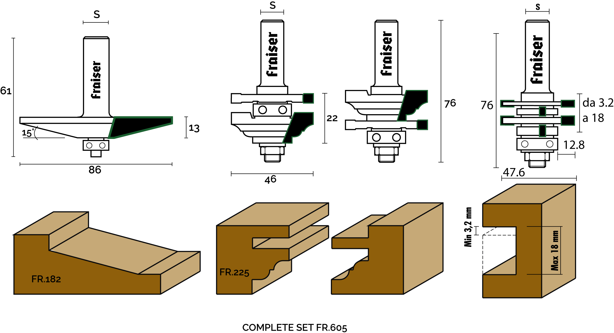 "3 piece set for cabinet doors maker and joints ""Type 2"" - technical design"