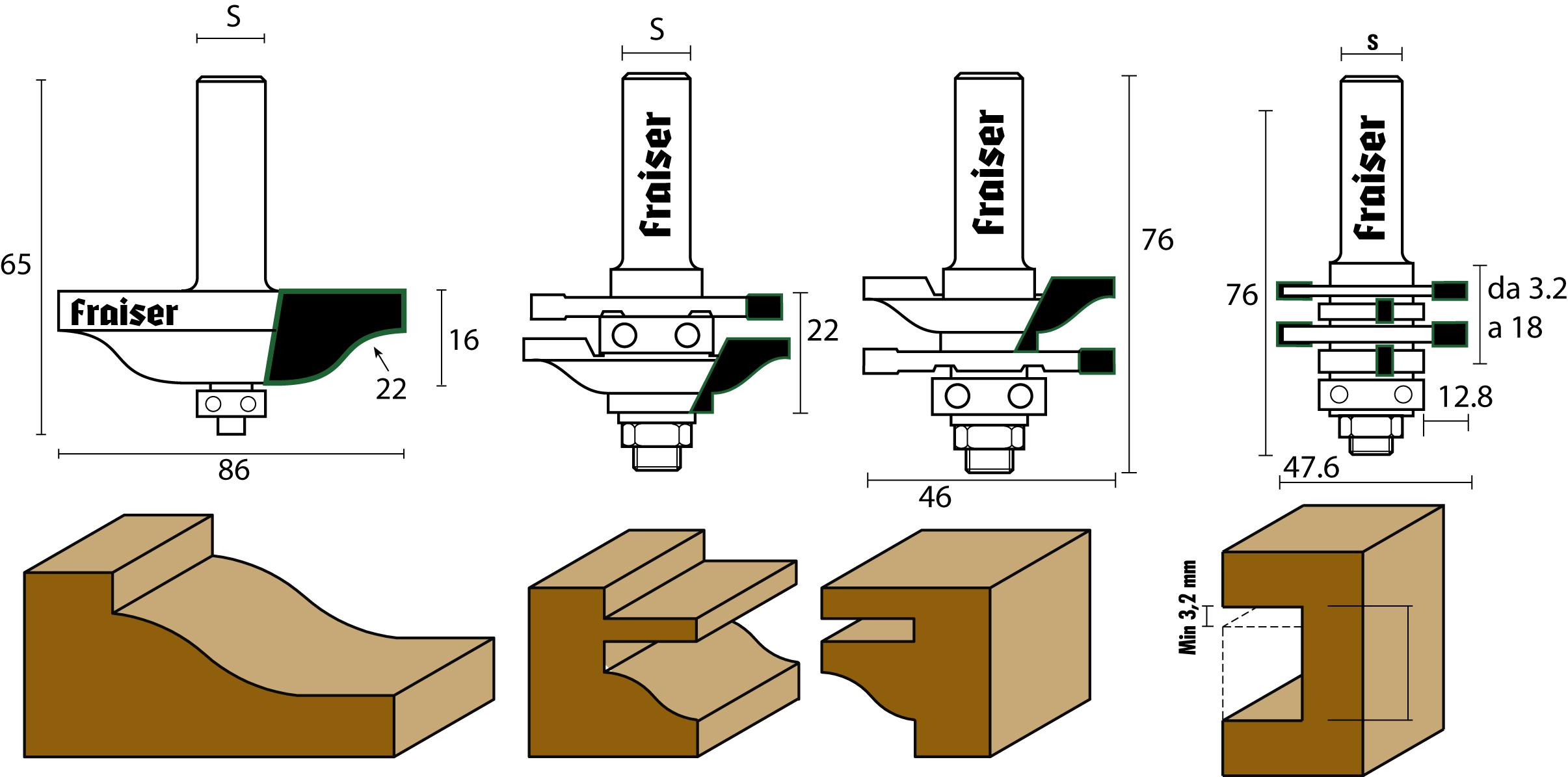 """Set di frese HW per antine e incastri """"TIPO 1"""" - disegno tecnico"""