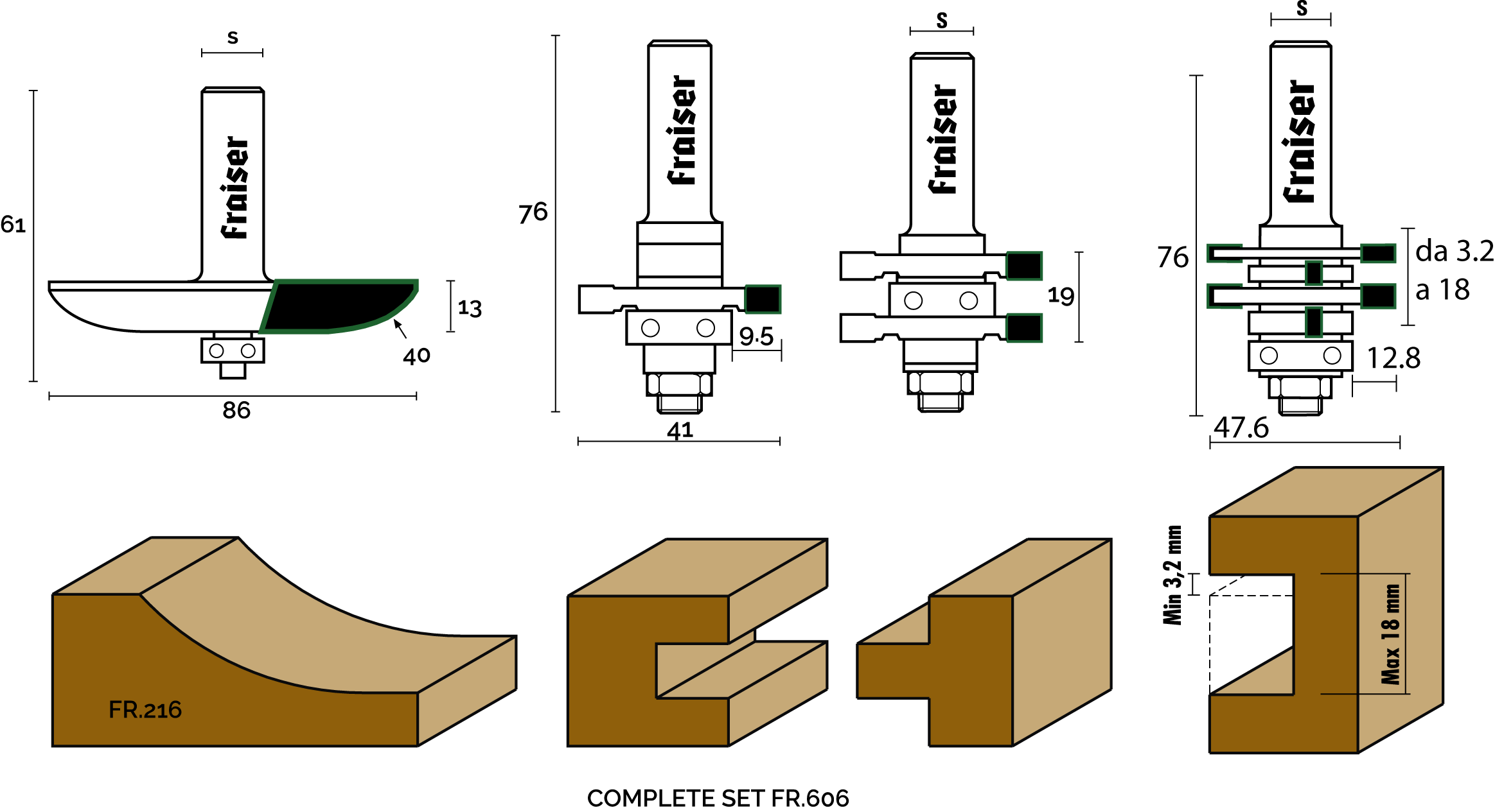 "3 piece set for cabinet doors maker and joints ""TYPE 3"" - technical design"
